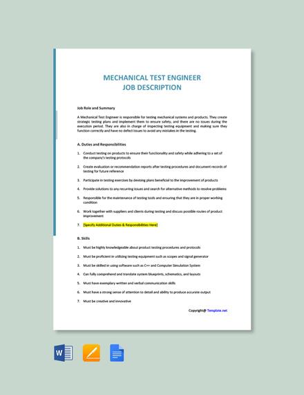 Free Mechanical Test Engineer Job Description Template
