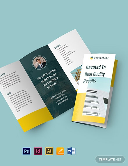 Construction Site Tri-Fold Brochure Template