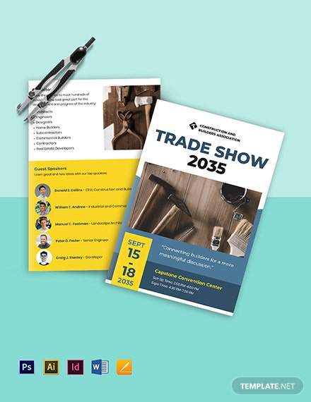 Builders Trade Show Bi-Fold Brochure Template