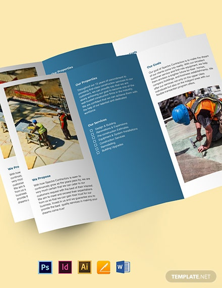 Contractor TriFold Brochure Template