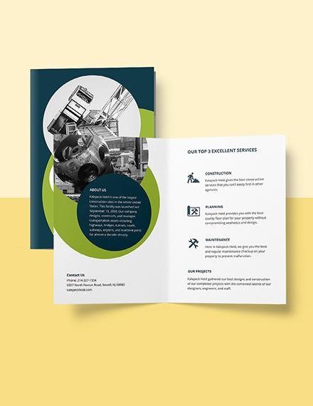 Contractor BiFold Brochure Template Format