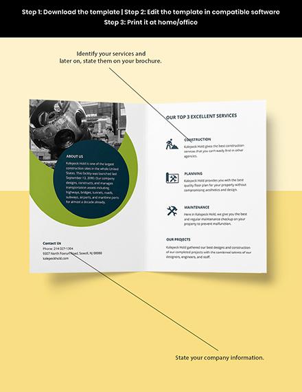 Contractor BiFold Brochure Template Sample
