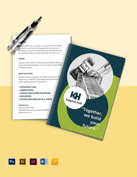 Contractor Bi-Fold Brochure Template