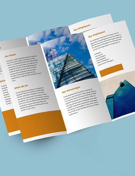 Civil engineer TriFold Brochure Template editable