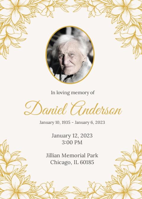 Free Funeral Ceremony Invitation Template