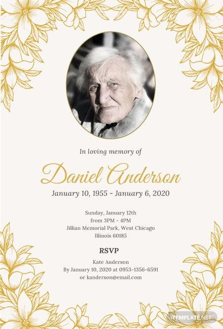 Free Simple Funeral Invitation Template in PSD, MS Word, Publisher ...