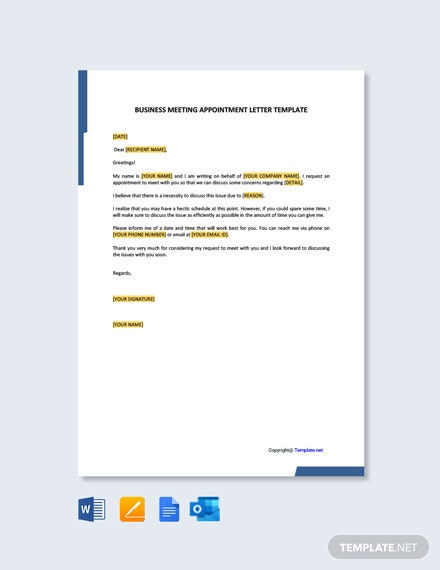 FreeBusinessMeetingAppointmentLetterTemplate