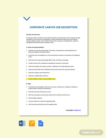 Free Corporate Lawyer Job Description Template