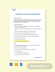 Free Corporate Lawyer Job Ad and Description Template