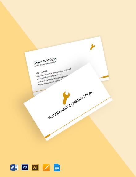 Crane Operator Business Card Template