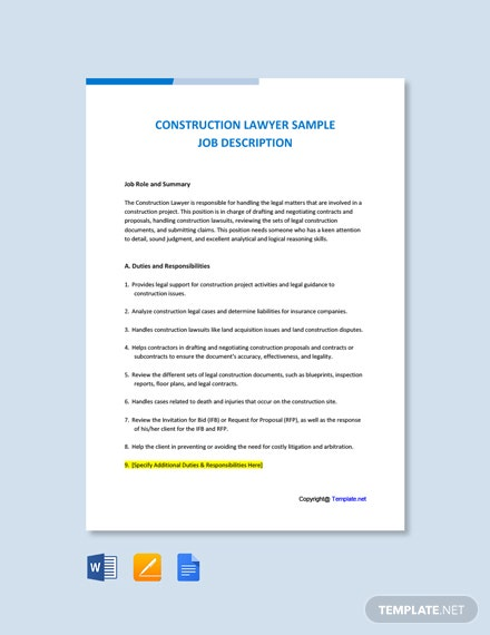 Free Construction Lawyer Sample Job Description Template