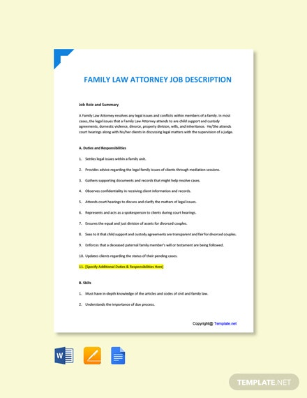 Free Family Law Attorney Job Ad and Description Template