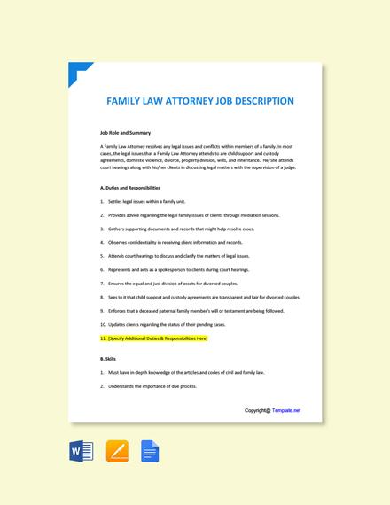 Free Family Law Attorney Job Description Template