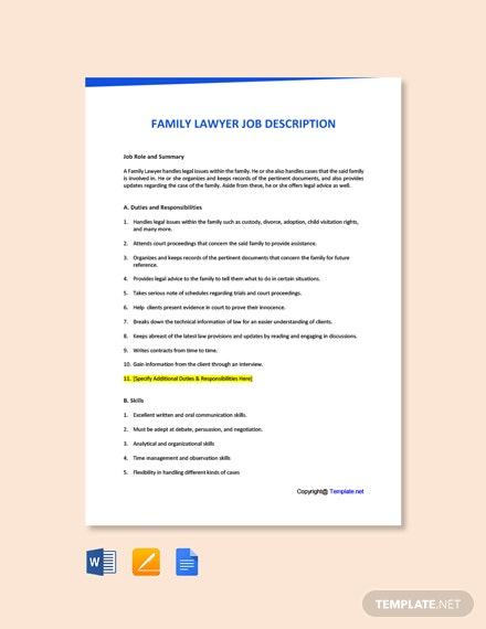 Free Family Lawyer Job Description Template