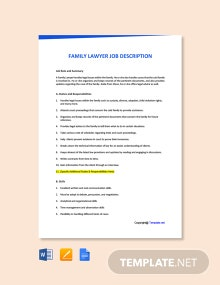 Free Family Lawyer Job Ad and Description Template
