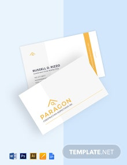 Construction Inspector Business Card Template
