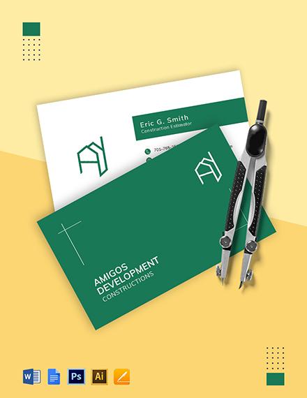 Construction Estimator Business Card Template