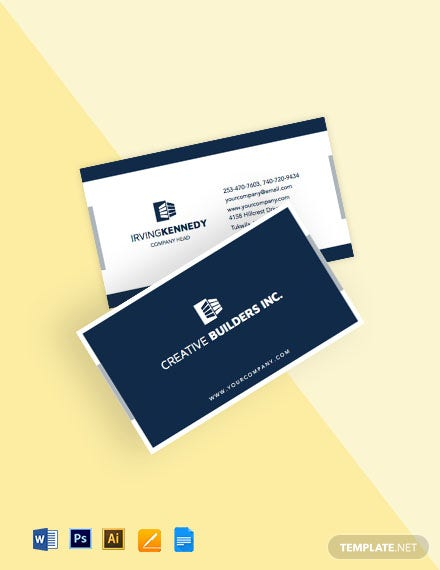 Construction Equipment Business Card Template