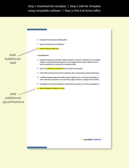 Business Lawyer Job Description Template