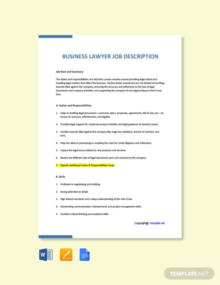 Free Business Lawyer Job Ad and Description Template