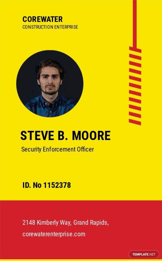 Construction Security ID Card Template