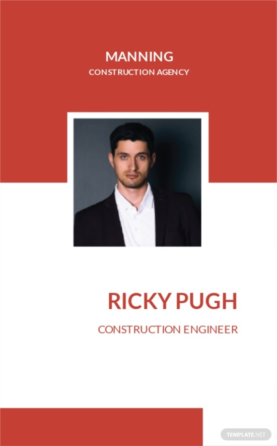 Construction Engineer ID Card Template