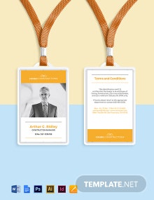Construction Company ID Card Template