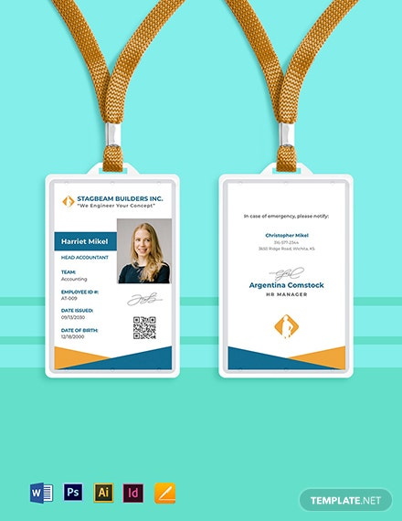 Building Contractor ID Card Template