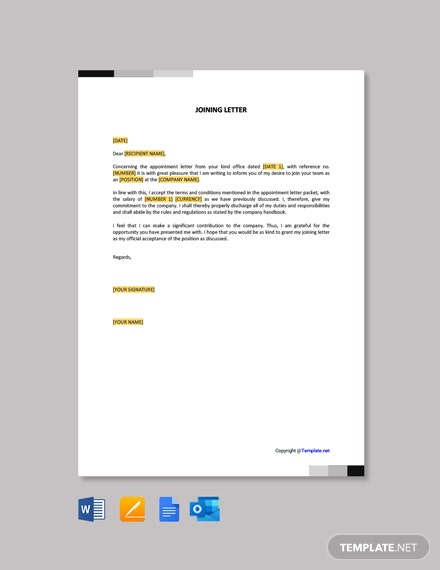 Free Joining Letter Template