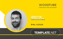 Horizontal Construction ID Card Template