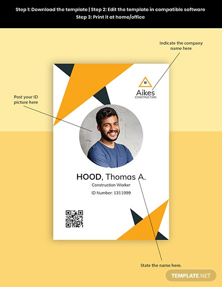 Construction Worker ID Card Template Format
