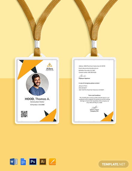 Construction Worker ID Card Template