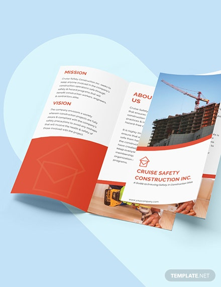 Construction Safety TriFold Brochure Editable