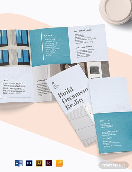 Apartment Construction TriFold Brochure Template Format