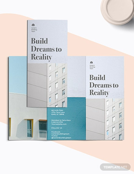 Apartment Construction TriFold Brochure Template Printable