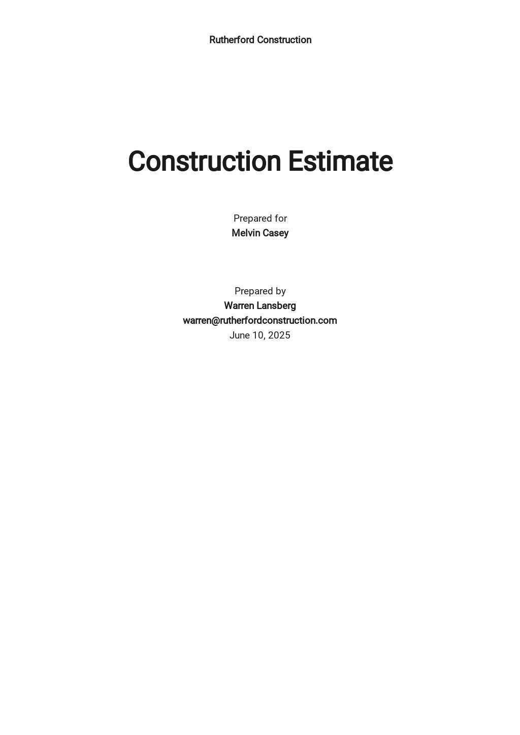 Construction Estimate Format Template