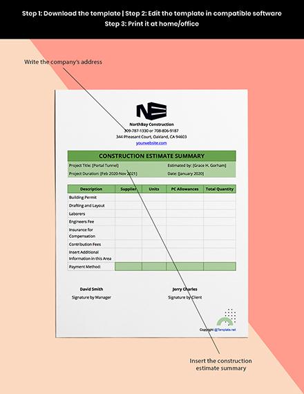 Simple Construction Estimate Template Format
