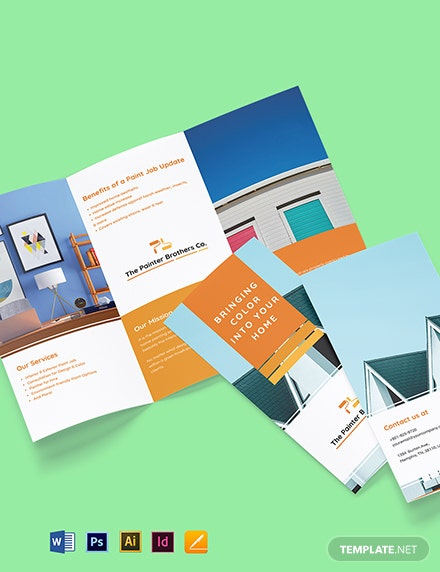 House Painting Contractor Tri-Fold Brochure Template