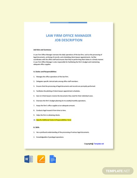Free Law Firm Office Manager Job Ad and Description Template