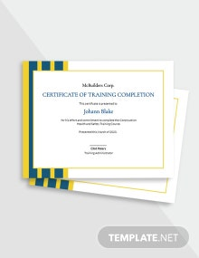 Construction Training Certificate Template