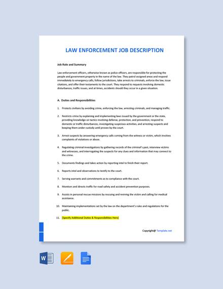 Free Law Enforcement Job Description Template