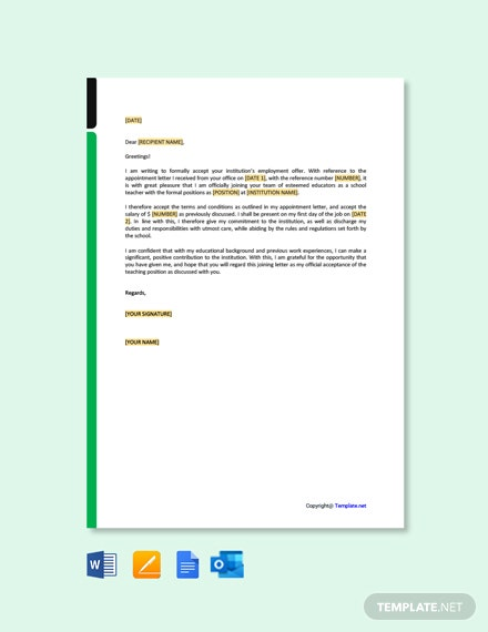Joining Letter for School Teacher Template