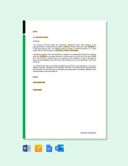 Free Joining Letter for School Teacher Template