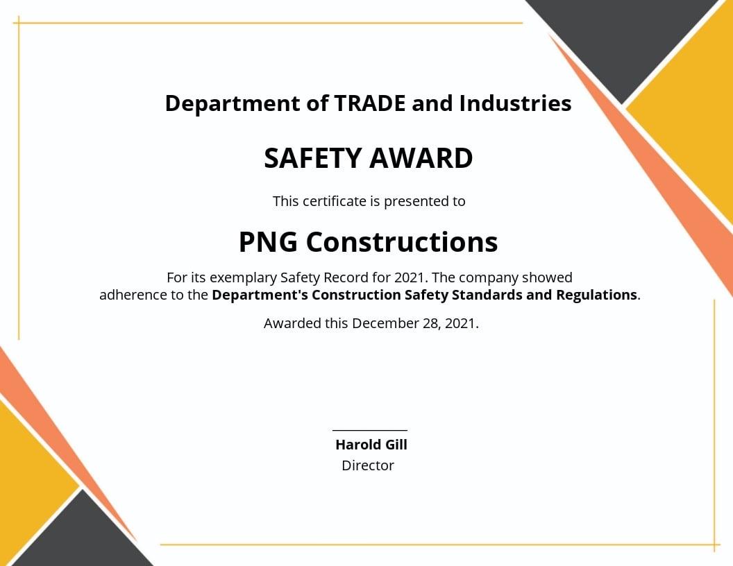 Safety Award Certificate Template.jpe