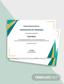 Construction Safety Training Certificate Template