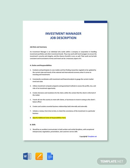 Free Investment Manager Job Ad and Description Template