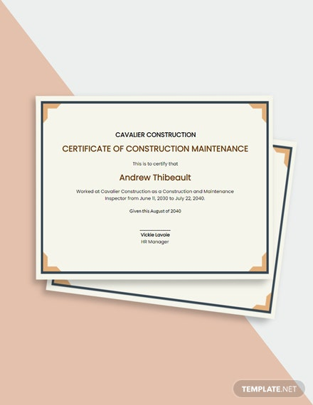 Construction Maintenance Certificate Template