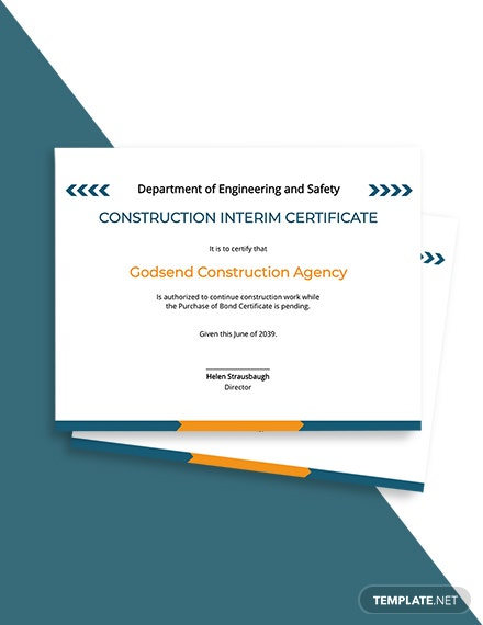 Construction Interim Certificate Template
