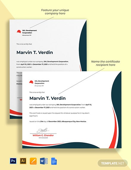 Construction Worker Certificate Template