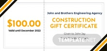 Construction Gift Certificate Template